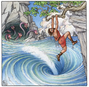 To Get Home Odysseus And His Men Had Pass Through Two Cliffs The Scylla Lived On One Cliff Charybdis Other Side